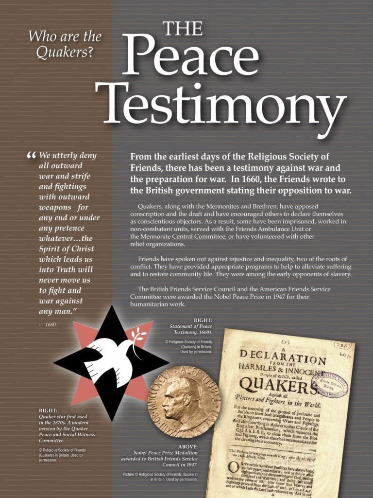 Poster of the Quaker Peace testimony