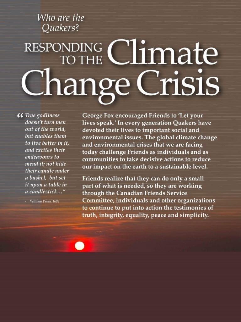 Quakers respond to the climate change crisis (Poster)